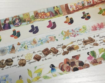 1 Roll of Limited Edition Washi Tape:  Snow white & 7 Dwarfs, Colorful Socks, Seashell and starfish, Tasty Chocolate, or Forrest Fairy