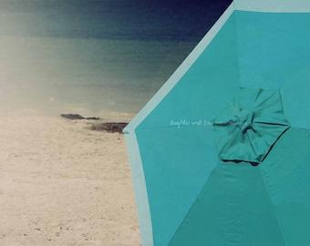 Aqua Umbrella Photo, Beach Photography, Teal Turquoise Blue Ombre Seaside, Coastal Decor, Tropical Nautical Beach House Home Decor Wall Art