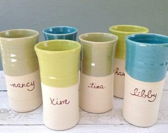Personalized Tumbler, Large Tumbler, Pottery Tumbler, Ceramic Tumbler, Custom Pottery Cup, Blue Pottery Cup, Pea Green Cup, Personalized