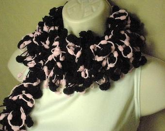 Pastel Pink and Black Pom Pom Scarf