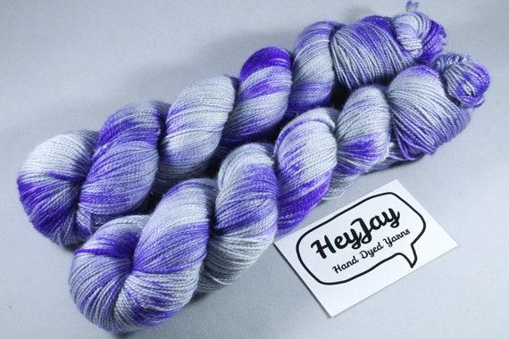 Hand Dyed Sparkle Merino Sock Yarn - Inkblot