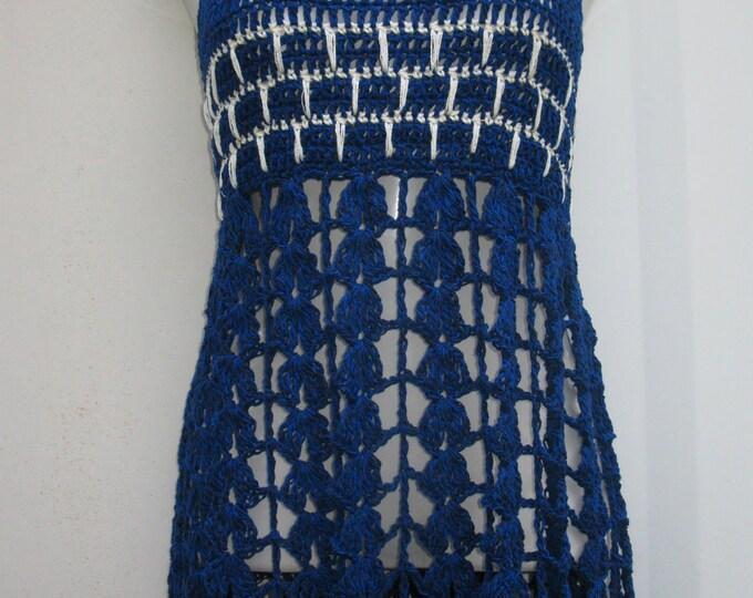 Crochet dress, mini,  beach cover up, festival top/ dress, gypsy, cotton, bohemian