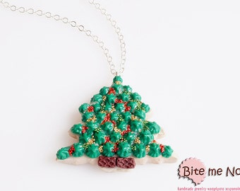 Food Jewelry Handmade Christmas Tree Biscuit Necklace, Miniature Food, Polymer clay Sweets, Mini Food Jewelry, Christmas jewelry