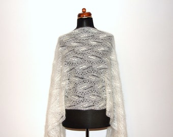 knitted lace shawl, mohair bridal wrap, Estonian lace, MADE TO ORDER