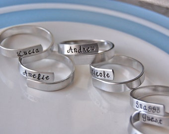 Set of 8 family napkin rings, personalized, fun party set-- featured on HOUZZ