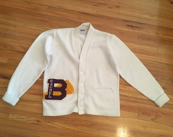 "1980's school cheerleader sweater ~ vintage varsity sweater ~ classic white ""Dehen"" letterman"
