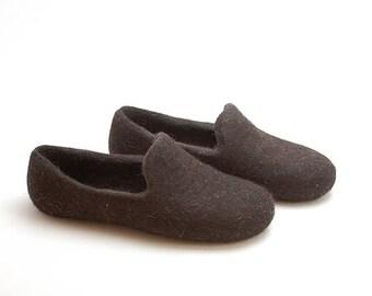 Felted wool slipper loafers dark brown - eco slippers - handmade felt organic wool house shoes