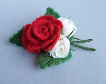 Rose bouquet brooch pin Multicolor red, white, green Bright accessory Elegant Wedding accessory jewelry Flower floral pin