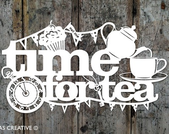 Papercut Template PDF SVG 'Time for Tea' Printable Cut Your Own Papercut by Samantha's Papercuts
