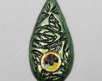 Green and Gold Cabochon with Leaf Texture and Crystal Rivoli, Polymer Clay Cabochon, Handmade Cabochon