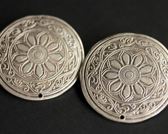 Set of Two Viking Apron Pins. Stamped Brooches. Viking Brooch Set. Shoulder Brooches. Silver Brooches. Viking Jewelry. Historical Jewelry.