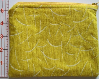 Lined Cosmetic Zipper Pouch - Bright Yellow