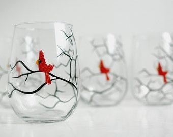 Christmas Cardinals Stemless Wine Glasses - Set of 6 Hand Painted Wine Glasses, Christmas Glasses, Cardinal Glasses, Hand Painted Bird Glass
