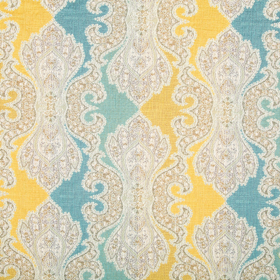 Aqua Blue Damask Upholstery Fabric Woven Yellow Blue