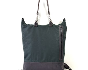 Olive Waxed Cotton & Brown Leather Tote X Backpack Holdall Bag