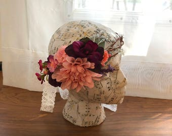 Purple and Pink Flower Crown with a touch of Silver