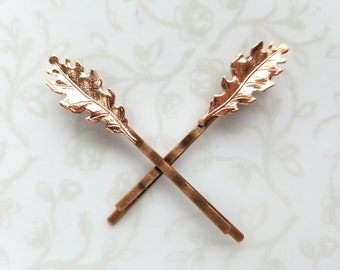 Rose Gold Small Oak Leaves, Set of Two Bobby Pins, Hair Pins, Woodland, Rustic, Nature, Fall, Forest, Garden Wedding