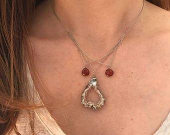 Best Seller Triple V Necklace geode and sunstone