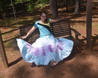 Gypsy Belly Dance Skirt, Ethnic Tribal Hippie Skirt, Bohemian Patchwork Festival Skirt, Handmade Eco Clothing, Plus Size Tie Dye Maxi Skirt
