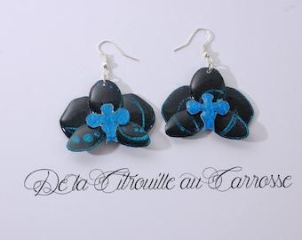 Black Orchid, iridescent blue Arabesque earrings