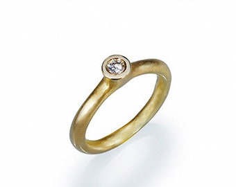 Solitare gold ring  small diamond ring gold solitaire ring, classic engagement ring gold engagement ring vintage thin wedding band