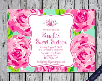 Lilly Pulitzer First Impression Inspired Monogram Invitation Graduation Bridal Shower Baby Birthday Sweet Sixteen