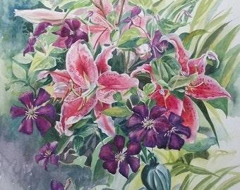 Lilies & Clematis - Original Watercolour Painting