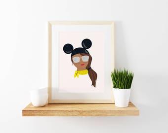 Disney Girl Portrait - Light Brown Skin, Brunette // With Disney Hat