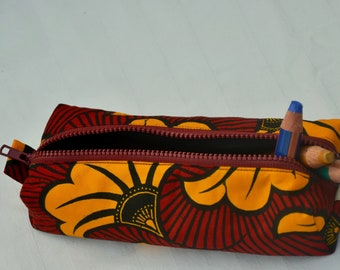 Pen pocket in African print fabric/makeup bag/ritstas/back to school/red