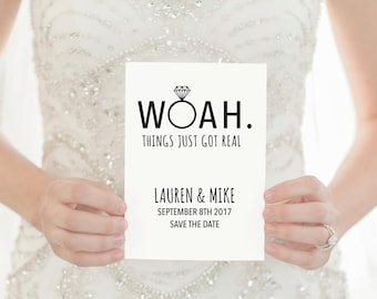 Save the Date Template, Thing Just Got Real Save The Date, Save the Date Card, Save The Date Template Wedding