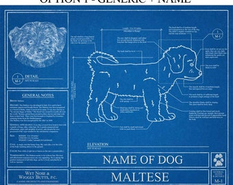 Personalized dog blueprints custom pet by wetnosewigglybutts personalized maltese blueprint maltese art maltese wall art maltese gift maltese print malvernweather Gallery