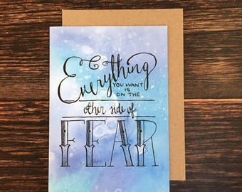 The Other Side of Fear - Hand Lettered Greeting Card
