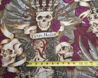 Royal Vintage Skulls Roses Carpe Noctem BY YARDS Alexander Henry Cotton Fabric