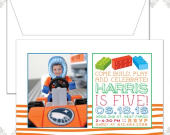 Lego Photo birthday Invite, Lego party, Lego Theme Birthday, Lego Invitation, modern lego birthday, Custom lego photo invite, lego driver