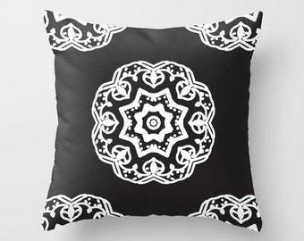 Medallion Black and White pillow with insert  - Modern Home Decor - By Aldari Home