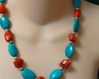 Turquoise and Coral Beaded Necklace,  Turquoise Necklace,  Red Coral Necklace, Southwestern Necklace
