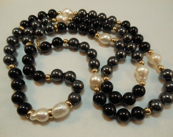 14K Onyx, Hematite and Baroque Pearl Necklace