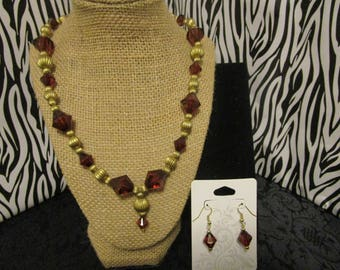Brown & Gold Necklace/Earrings Set