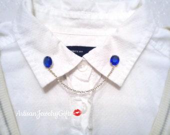 Blue Oval Gem Collar Pins Antique Glass Gem Sweater Clips Hipster Sweater Pins Blue Gemstone Collar Brooch Gold Collar Chain Lapel Pins