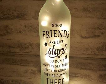 Good Friends Quote Bottle Light.