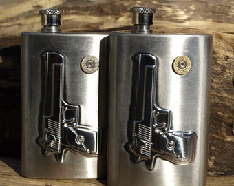 Stainless Steel 4 Oz GUN & BULLET Flask. Choice of 380, 9, 38, 357, 40, 45, or 44 Bullet-Nickel or Brass and Optional Crystal Color.   A-816