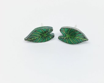 Tropical Leaves Plant Lady Palm Leaf Ear Studs Post Earrings Stud Earrings Heart Leaf Lilly Pad Tropical Plant Botanical Garden Monstera