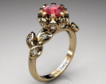 Unique 14K Yellow Gold 1.0 Ct Ruby Diamond Lifetime Flower Engagement Ring Wedding Ring R1032-14KYGDR