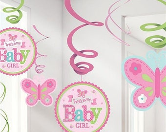 Welcome Baby Girl 12 Pc Hanging Swirls - Pink With Butterfly - Baby shower decoration