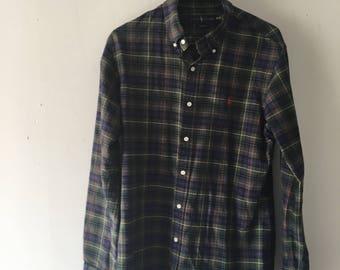 On SALE 60% Off - Vintage 80s Ralph Lauren Polo Plaid Lining Dark Denim Jean Jacket - 1980s Ralph Lauren - 80s Clothing - MV0022 XJkVO8F