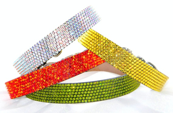 """Crystal Collars Large 18-21"""" Rhinestone Leather pet collar w/ Swarovski Crystal Bling +80 jewel colors 1"""" wide Dog Leash by Glass Slippers"""