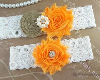 Wedding Garter, Garter, Bridal Garter, Burlap Garter, Rustic Garter, Handmade Orange Shabby Chic Garter, Garter Belt, Garter Set GTF0025O
