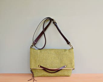 Tweed Convertible Top Handle Tote in Green Apple, Foldover Bag with Detachable Leather Strap Converts to Clutch, Business Crossbody Bag, USA