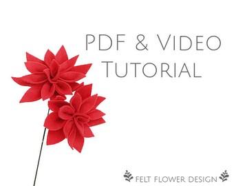 Flower tutorial - Dahlia - PDF tutorial - felt