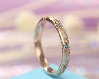 Vintage Emerald wedding band Rose Gold Women Unique Bridal Jewelry Art Deco Stacking Engrave antique Birthstone Alternative Promise Gift